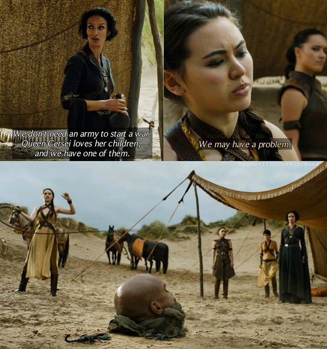 "So... Do you like the ""show - Sand Snakes""? I must admit: I was very disappointed. I quite liked the Dorne storyline and the Sand Snakes from the books, but the show storyline was, well, let's say 'less enjoyable' to watch in my opinion😕 --- After Prince Doran refused to avenge Oberyn, Ellaria visited Oberyn's daughters. She has a plan how she could take revenge on the Lannisters. The plan includes Cersei's daughter Myrcella, who is promised to Prince Trystane. But Nymeria told her, that…"