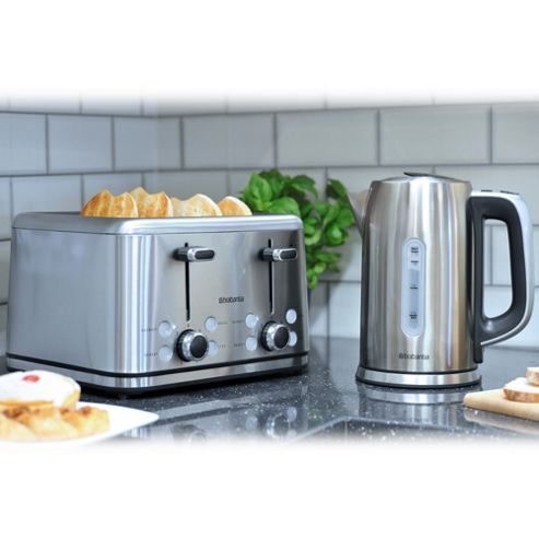 Brabantia BQPK03 Breakfast Set Kettle with Digital Temperature Control and 2 Slice Toaster - Brushed Stainless Steel