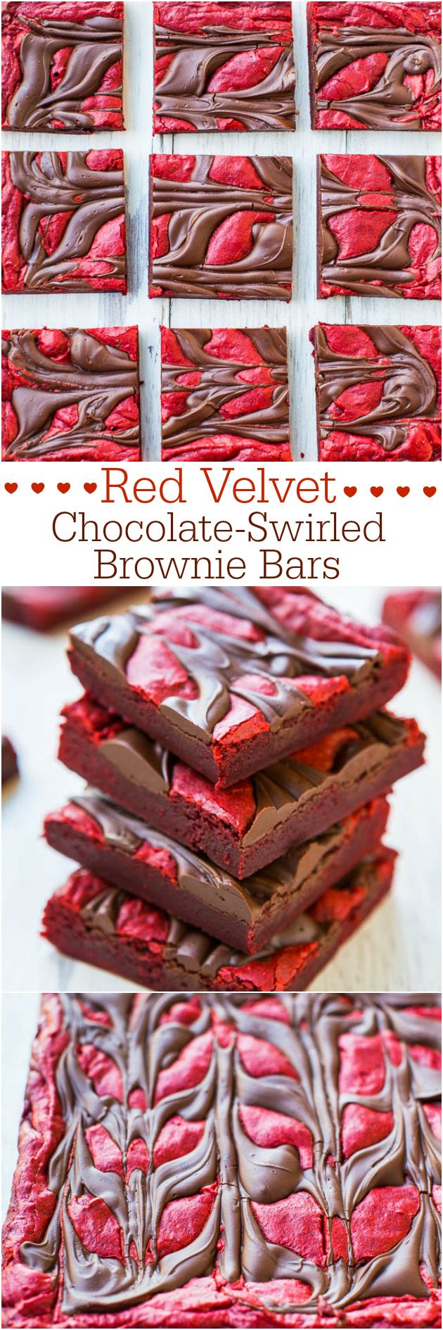 Red Velvet Chocolate-Swirled Brownie Bars {from scratch, not cake mix} - Big chocolate rivers in every bite!! Velvety soft and so good!!!