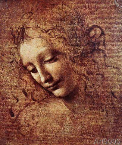 Leonardo da Vinci - Head of a Young Woman with Tousled Hair or, Leda