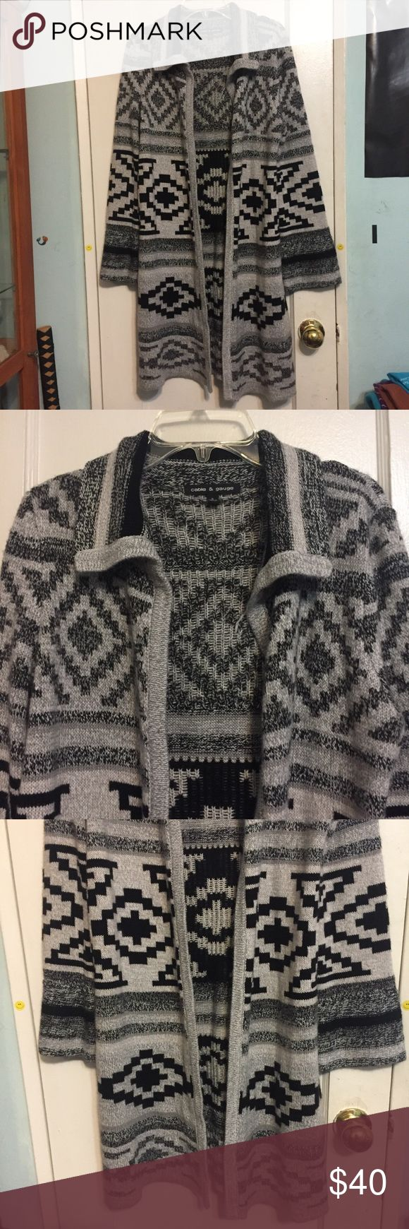 Cable & Gauge Long Aztec Print Cardigan This was only worn once but is in excellent condition. It is a thick material, perfect for fall and winter. Length is 37 in Cable & Gauge Sweaters Cardigans