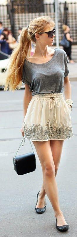 Embellished Mini Skirt with Grey Tee shirt