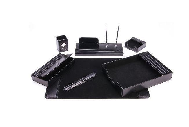 Executive Desk Organizer Set Modern Leather Desktop Workstation Pads Mat Mail Tr #MajesticGoodsOfficeSupply