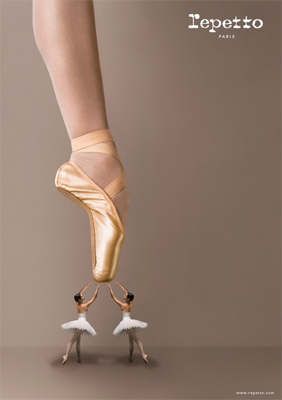 Advertisement for Repetto, (a French ballet shoe company founded in 1947 by Rose Repetto).