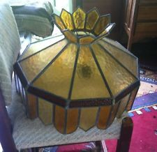Vintage leadlight stained glass ceiling pendant light shade fitting fixture