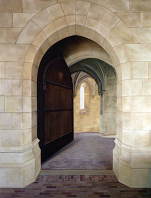 Trompe L'oeil Stone Entry Way  Mural painted by Lori LeMare