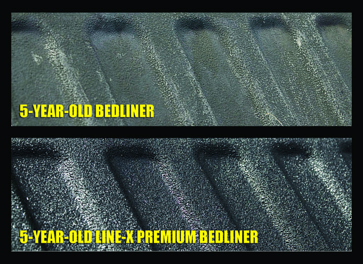 Ever wonder how LINE-X protects the bed of your truck? Take a look at this graphic that shows a regular 5-year-old bedliner compared to a 5-year-old bedliner sprayed with LINE-X. LINE-X of Laredo believes that anything you've invested in is worth protecting it. Protect it with LINE-X! #linex #linexoflaredo #ProtectYourInvestments