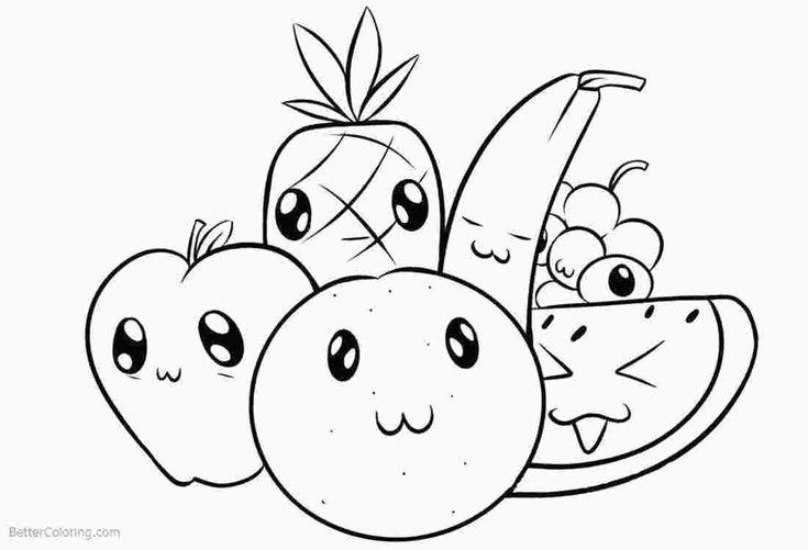süßes essen färben  ananaszeichnung lustige malvorlagen