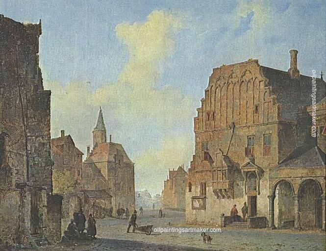 Cornelis Springer View of the old town hall in Arnhem, with fantasy elements - Cornelis Springer painting for sale online outlet, painting Authorized official website