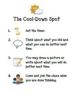Time out plek:  1. zet de timer op 3 minuten.  2. denk erover na wat er fout ging  3. vertel dit na afloop aan de juf en zeg sorry. (optie: maak  een tekening of een verhaal over wat je kunt doen zodat het beter gaat)   4.kom weer in de kring en probeer het opnieuw.