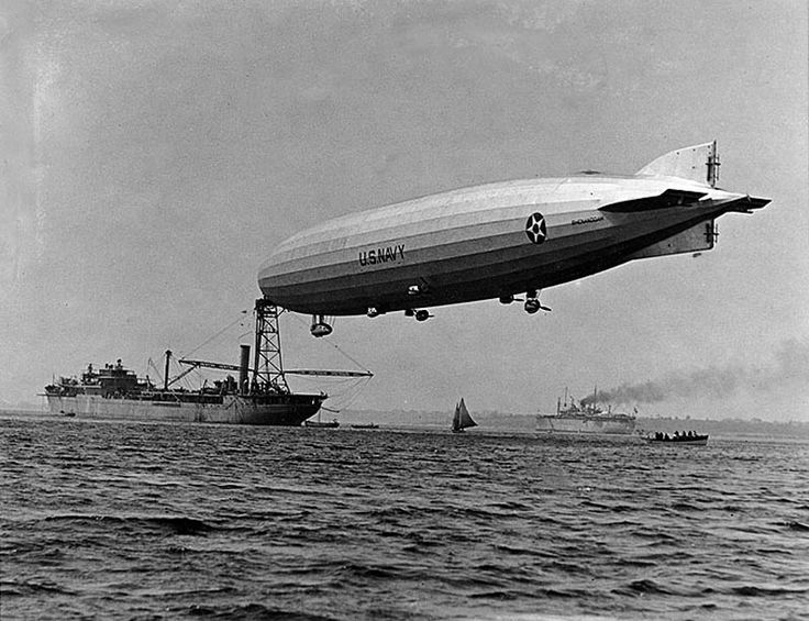 On 10 October 1923 the first American-built rigid airship, USS Shenandoah (ZR 1), was christened. It used helium gas instead of hydrogen. In this image Shenandoah is moored to USS Patoka (AO 9), circa 1924-1925. NHHC photo NH 98222.