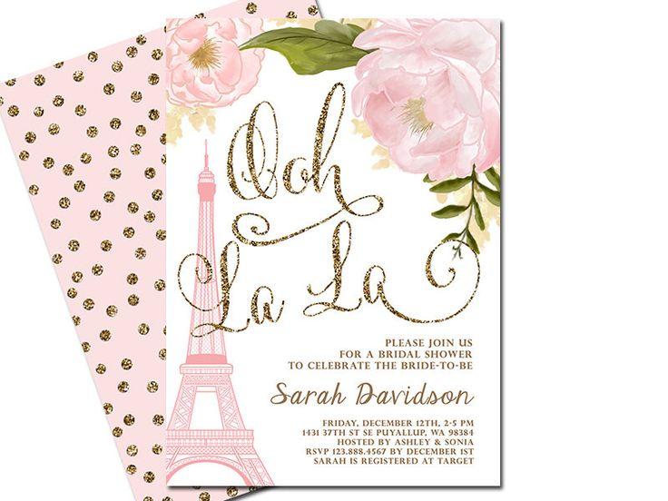 Paris Bridal Shower Invitation, Eiffel Tower French Shower Invitation, Paris themed Invitation, Pink Floral, Blush Pink & Gold Glitter by SunnyDaysCreation on Etsy https://www.etsy.com/listing/270737954/paris-bridal-shower-invitation-eiffel