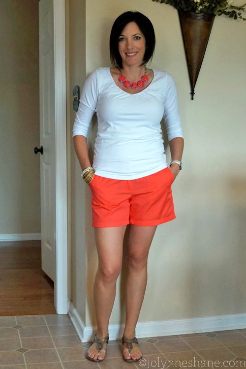 white tee with coral shorts and a statement necklace - #30daysofsummeroutfits at Musings of a Housewife!