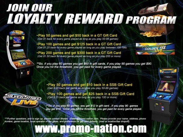 silver strike and golden tee loyalty program games machines pinterest loyalty silver and loyalty rewards