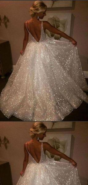 A-Line Backless V-Neck Sequins Ivory Beach Wedding Dresses.Cheap Wedding Dresses, WDY0280 A-Line Backless V-Neck Sequins Ivory Beach Wedding Dresses.Cheap Wedding Dresses, WDY0280
