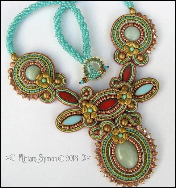 Soutache necklace in Turquoise, Coral, Bronze and Mint