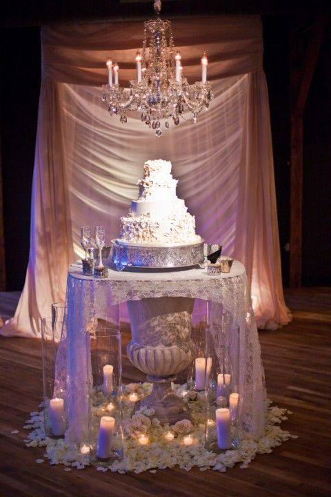 Gorgeous urn for wedding cake table - without all the distracting fabric, candles...
