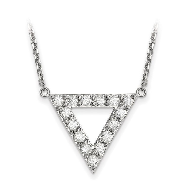 14k White Gold AA Quality Diamond 20mm Triangle Necklace XP5013WAA