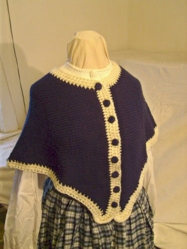 Sontag, Victorian/Civil War era Ladies' Navy Capelet, made by Marion Marden, artfire.com