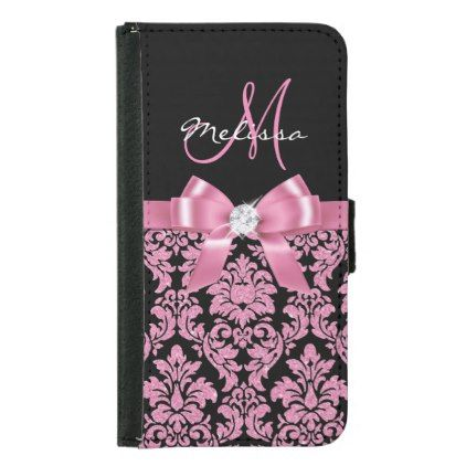 Elegant Pink glitter Black Damask Bow Monogram Wallet Phone Case For Samsung Galaxy S5 - black gifts unique cool diy customize personalize