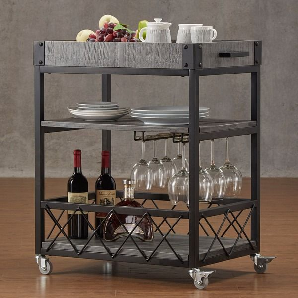 Tribecca Home Myra Rustic Mobile Kitchen Bar Serving Wine Cart With Removable Tray Top