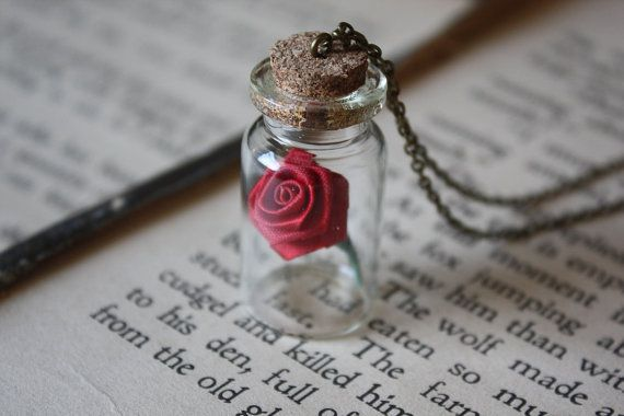 Beauty and the Beast Necklace  Rose in a Vial by spacepearls, $19.00