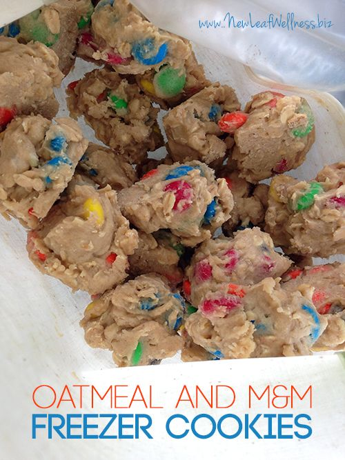 A simple freezer cookie recipe made with oats and M&M's. Scoop the dough into balls and freeze raw for whenever you need a chocolate fix.