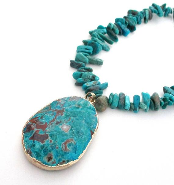 MADE TO ORDER  Chinese Turquoise Chip Necklace  Women Beaded