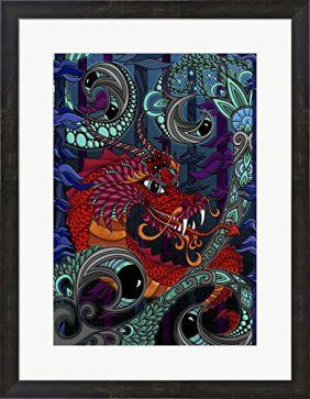 Answer the call of the wild with some beautiful animal wall art decor, as it is incredibly popular right now.   As can be seen by looking online, TV and even in magazines.  Currently wolf wall decor along with dragon wall decor are in crazy demand right now.    The Red Dragon by Phil Lewis Art Framed Art Print Wall Picture, Espresso Brown Frame, 21 x 27 inches