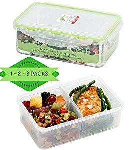 Amazon.com: Meal Prep Containers by FIT, Strong & Healthy | 38 oz Premium Leakproof Bento Style Divided Lunch Box for Portion Control | Configurable Removable Compartments | Reusable | Healthy Eating and Fitness: Kitchen & Dining
