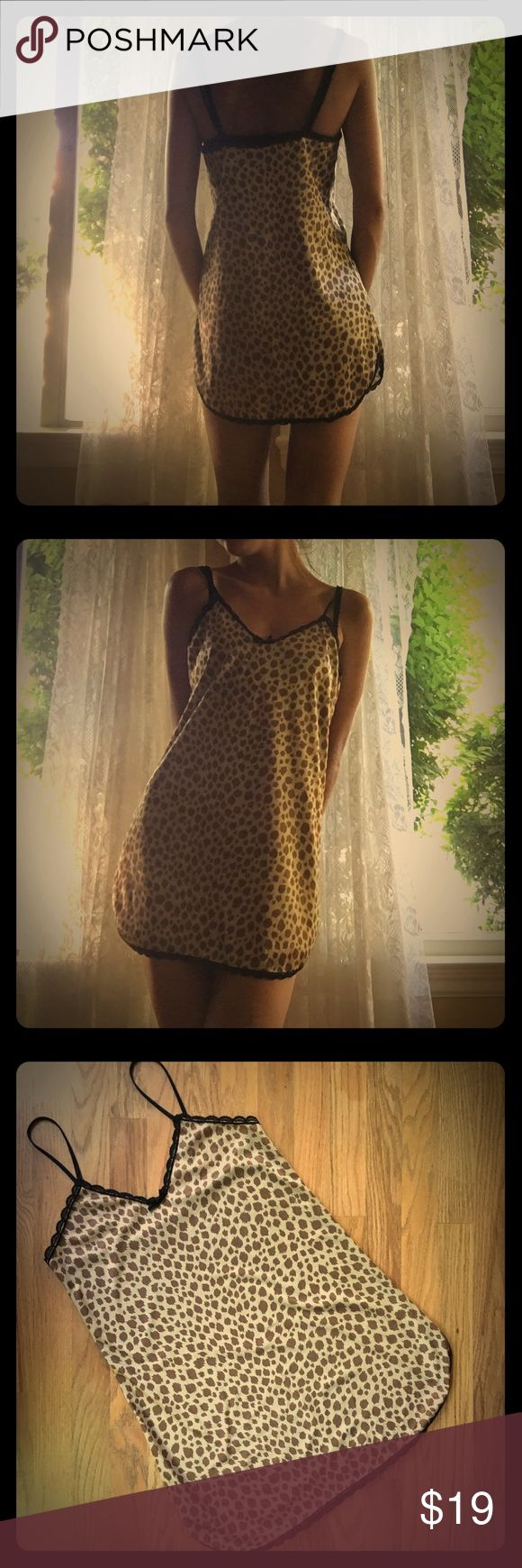 Animal Print Lingerie Slip Dress Animal Print Lingerie Slip Dress! Leopard Cheetah Animal Print... black borders, super soft and comfy!! No flaws! Size small! Vintage Intimates & Sleepwear Chemises & Slips