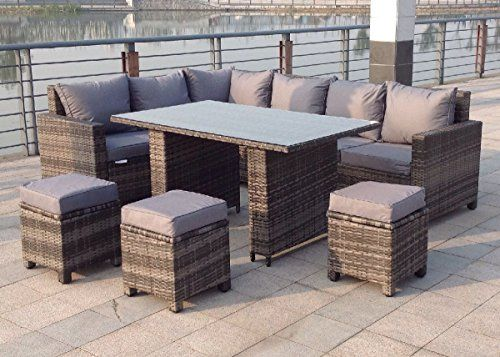Epic Rattan Outdoor Corner Sofa Dining Set Garden Furniture in Grey