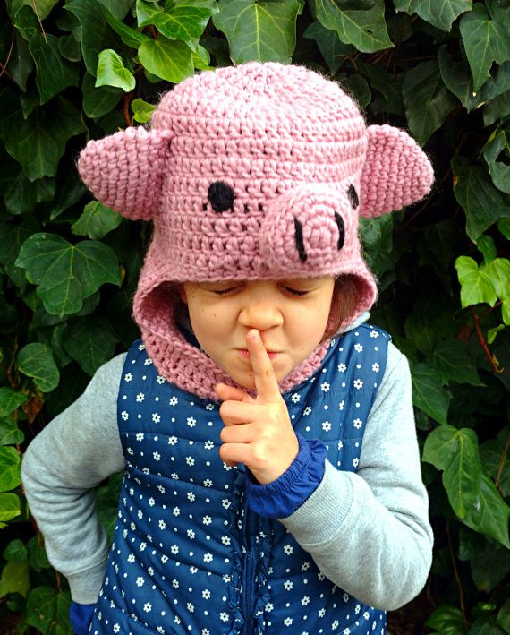 Crochet hoodie balaclava pig hat, handmade woollen hooded cowl, warm scoodie for kids and adults, funny slouchy hat MADE TO ORDER