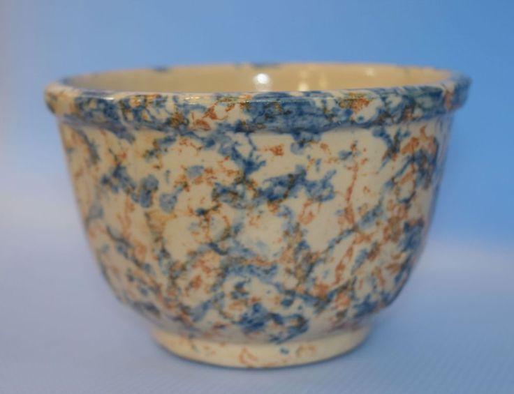 "Red Wing Pottery #6 Spongeware Panel Mixing Bowl Blue Brown 6.25"" x 4"" EUC!  #RedWing #Spongeware"