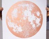 Cuivre 2015 Moon Phases calendrier, 22 x 30 grande sérigraphie, également or argent ou gris imprimé sur fond noir, rose sticker lunaire luna, espace, étoiles