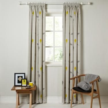 Buy John Lewis Bird on a Wire Lined Pencil Pleat Curtains, Sulphur   John Lewis for the small bedroom