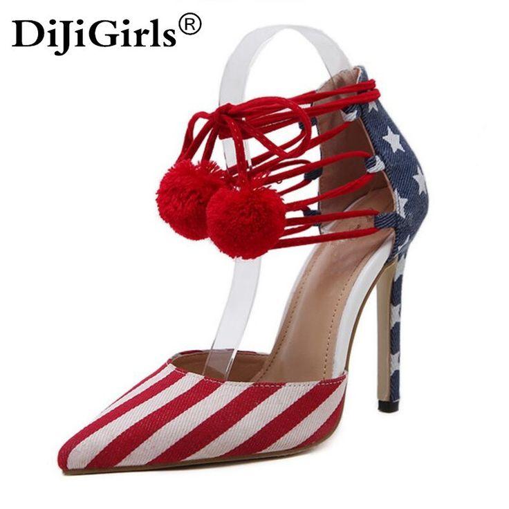 Zapatos de Mujer EE.UU. Bandera Denim Correas Cruzadas zapatos de tacón Alto Zapatos