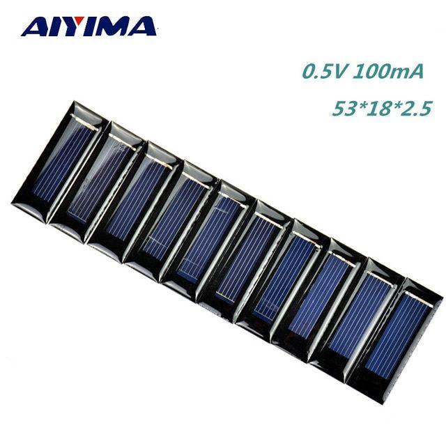 AIYIMA 10pcs 3V 30MA Solar Panels Polycrystalline Epoxy Solar cells  40x20mm
