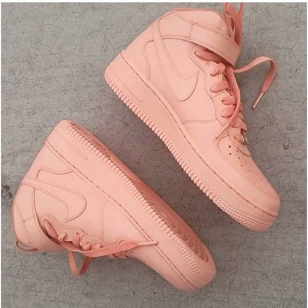 "Nike Air Force One custom ""Salmons"" ($225) ❤ liked on Polyvore featuring shoes, sneakers, nike, salmon shoes, nike footwear and nike shoes"