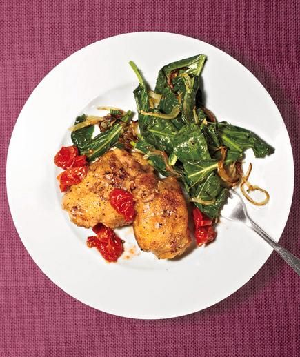 Roasted Chicken With Collards recipe