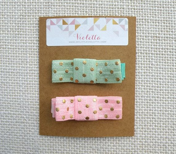 A Set of Two Hair Clips ~ Gold Polkadot ~ [ Gift Set ]  / Baby Shower, Birthday, Birthday, Christmas, Flower Girl Thank You Gift,
