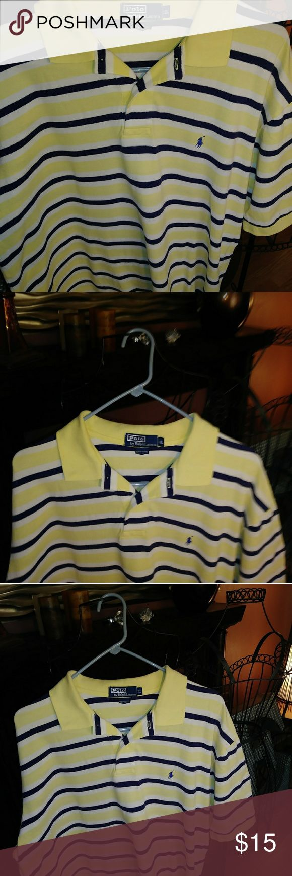RALPH LAUREN POLO SHIRT YELLOW WITH BLUE STRIPES.....THIS SHIRT IS IN EXCELLENT CONDITION......NO RIPS NO TEARS....NO STAINS  AT BEST THIS SHIRT ONLY NEEDS STEAM PRESSING OR A CLEANERS PRESS Ralph Lauren Shirts Polos
