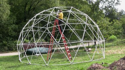 Contains 61 Geodesic Dome Hubs and Construction Manual to build a 3v 5/8 Geodesic Dome 25' diameter and 14' tall. Will support over 300 lbs. The Construction Manual shows how to cut the struts from 1.5 inch Schedule 40 PVC pipe.