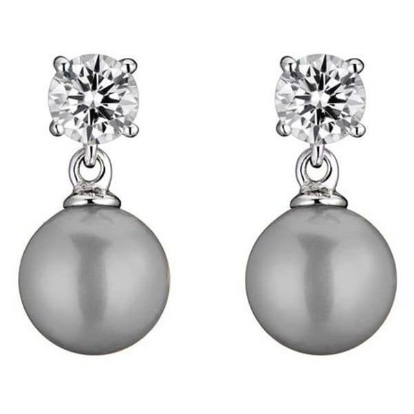 Collette Z Sterling Silver White Faux Pearl and Cubic Zirconia... ($17) ❤ liked on Polyvore featuring jewelry, earrings, grey, cz dangle earrings, earring jewelry, sterling silver cubic zirconia earrings, cz earrings and sterling silver long earrings