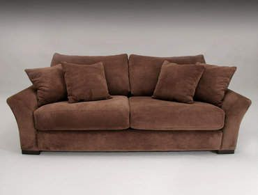 Microfiber Sofa Set   Classic Brown Two Cushion Seat Brown Microfiber Sofa  Living Room Furniture