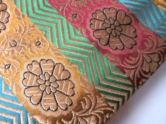 Colorful silk brocade green yellow red gold flower by SilksByUmf