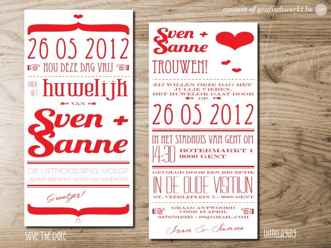 """typographic wedding invitation & save the date """"Sven + Sanne"""" - concept & design by grafisch werk(t) © 2013 http://grafischwerkt.be"""