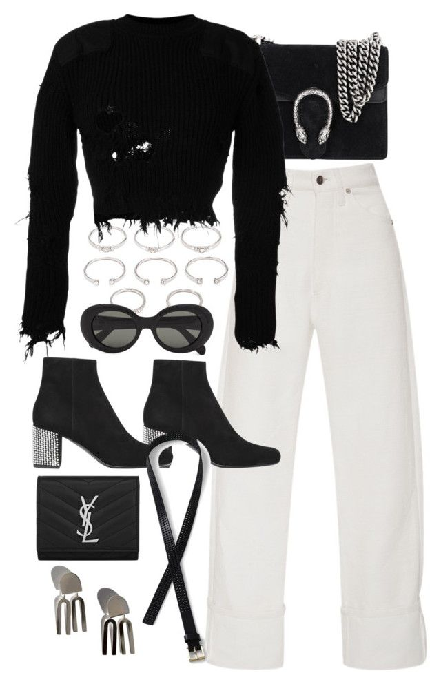 """""""Untitled #10727"""" by nikka-phillips ❤ liked on Polyvore featuring Forever 21, Gucci, Adam Selman, Yves Saint Laurent, Yeezy by Kanye West, Acne Studios and Lands' End"""