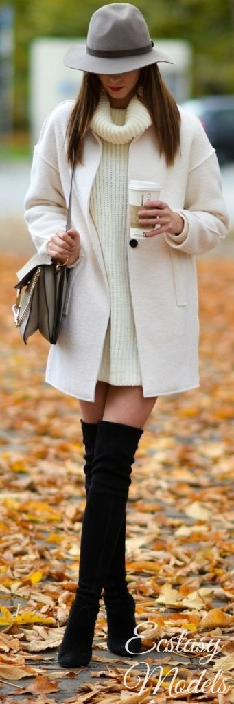 #winter #fashion / knit dress + coat