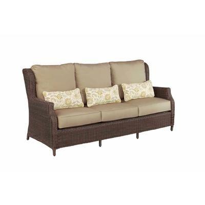 brown jordan vineyard patio sofa with sparrow cushions and aphrodite spring lumbar pillows custom